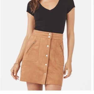 NWT Tan Faux Suede Snap Front Skirt